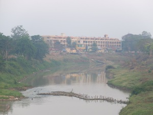 Early morning mist on the riverside town of Battambang, NW Cambodia.