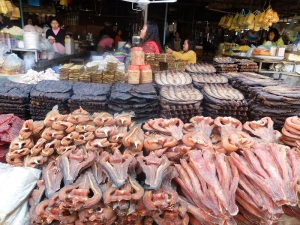 Dried and smoked fish at the central market - Phsar Nath, Battambang.