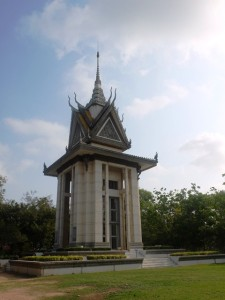 The Buddist memorial stupa that houses the skulls and bones of victims from Choeung Ek.